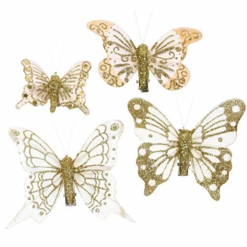 Fjärilsfjäril på klipp guldglitter 10st