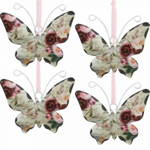 Fjäril att hänga metall dekorationshängare 7cm vårdekoration 12st