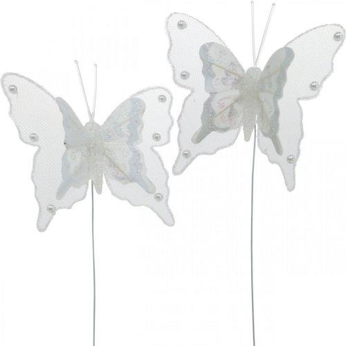 Fjärilar med pärlor och glimmer, bröllopsdekorationer, fjäderfjärilar på vit tråd