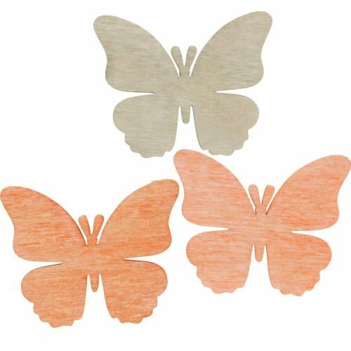 Fjärilar att strö dekorativt fjärilsträ orange, aprikos, brun 72st
