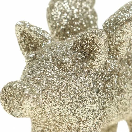 Dekorativ gris med vingar guldmica 6cm