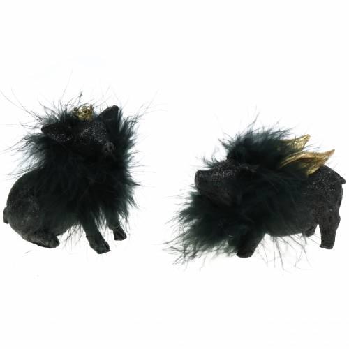Grisdekoration lycklig charm svart 9cm 2st