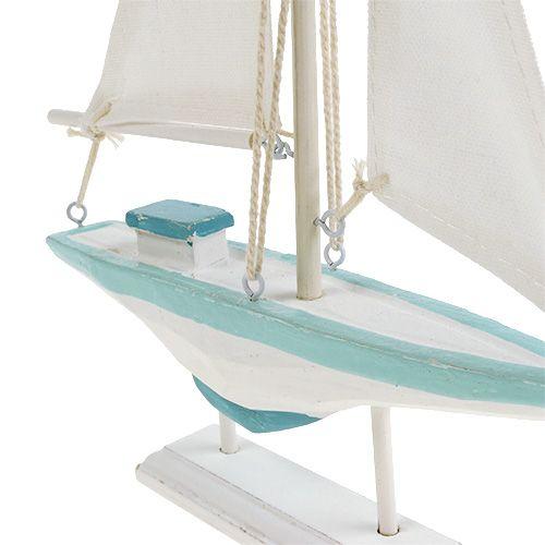 Segelbåt vitblått trä, linne maritim dekoration 30cm