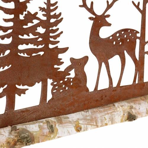 Skogsilhuett med rustika djur på träbas 57cm x 25cm