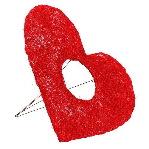 Sisal hjärtmanschett 25cm röd 10st
