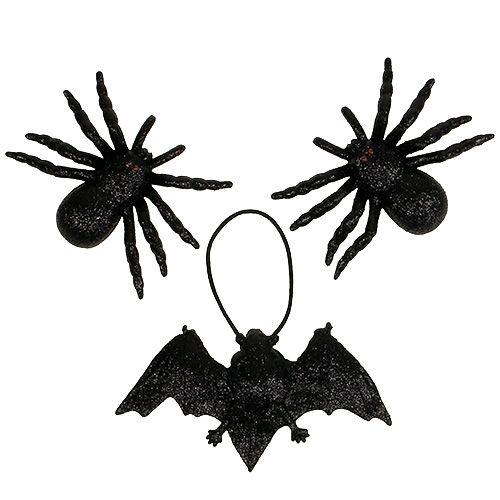 Spindel, fladdermusfigurer svart 10 cm, 14 cm 3st
