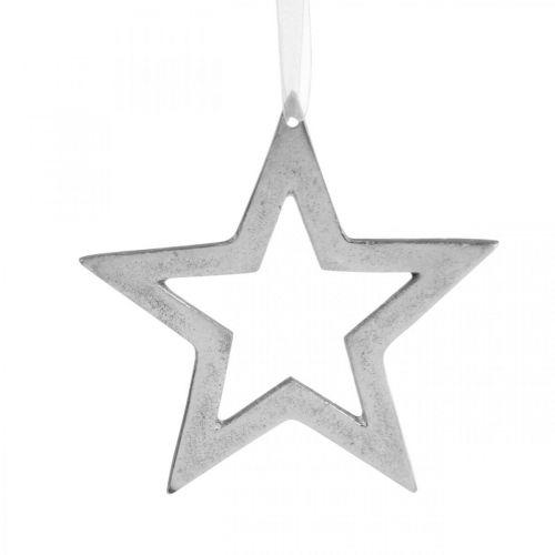 Stjärna för upphängning av juldekorationer i silver aluminium 15,5 × 15 cm