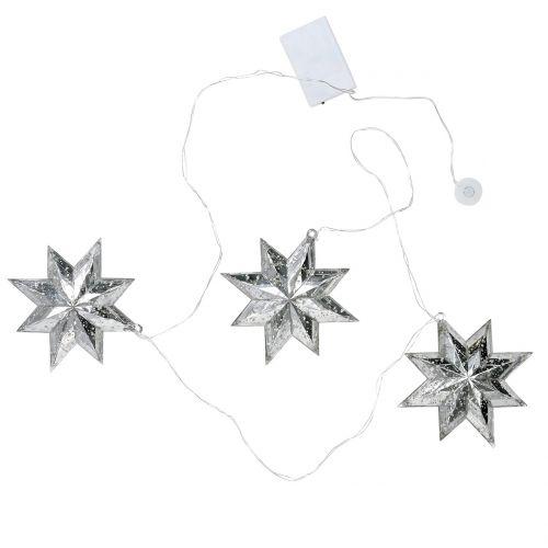 Stjärnkedja akryl silver 150cm x3 med LED för batterier
