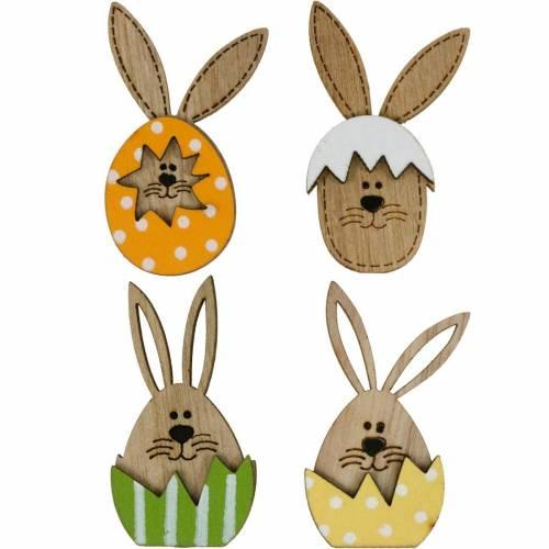 Kull dekoration kanin i ägg, gåva dekoration, kanin ägg att dekorera, trä dekoration att fästa på 12st