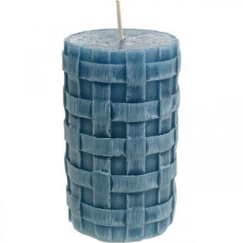 Pelarljus blå, vaxljus Rustikt, ljus med flätat mönster 110/65 2st
