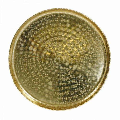 Dekorativ bricka, metallplatta orientalisk, bordsdekoration Ø25cm