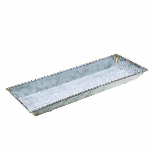 Dekorativ bricka vit tvättad zink 40cm × 15cm