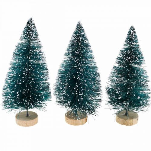 Snötäckta miniträd, vinterskog, adventsdekoration H9cm Ø4cm 3st