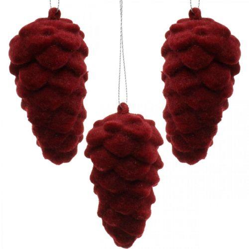 Dekorativa kottar flockade, höstdekoration, tallkottar röda, Advent H8,5cm Ø4,5cm 8st