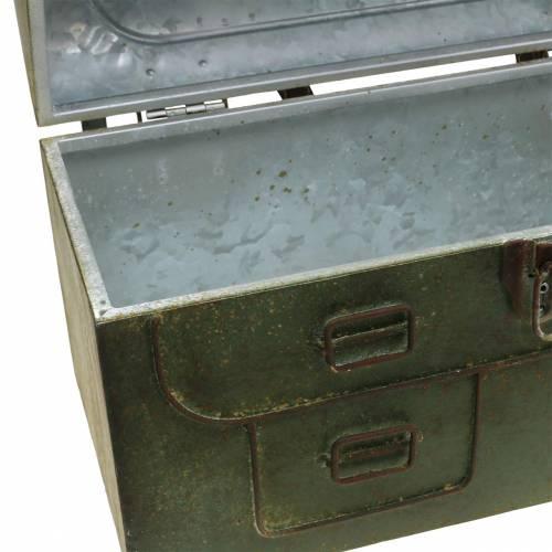 Planterväska med lock och läderrem metallgrå, brun / rost H25cm