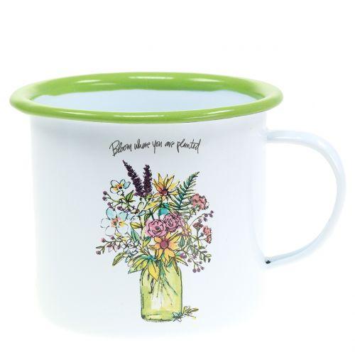 Dekorativ kopp med emaljerad växtkruka Ø11,5cm H10cm