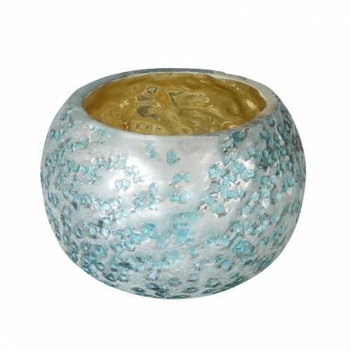 Lykta gjord av glas silverisblå Ø8,5cm H6cm