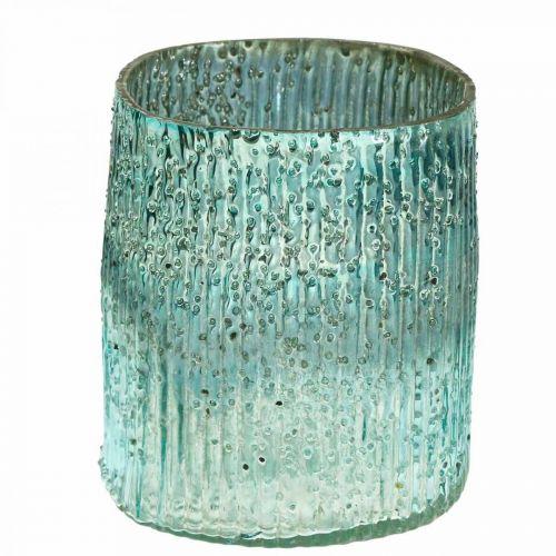Tealight glas blå vindljus glasdekor 12cm