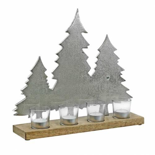 Värmeljushållare Tannen Mango, metall silver 38 × 34cm 4 värmeljusglasögon