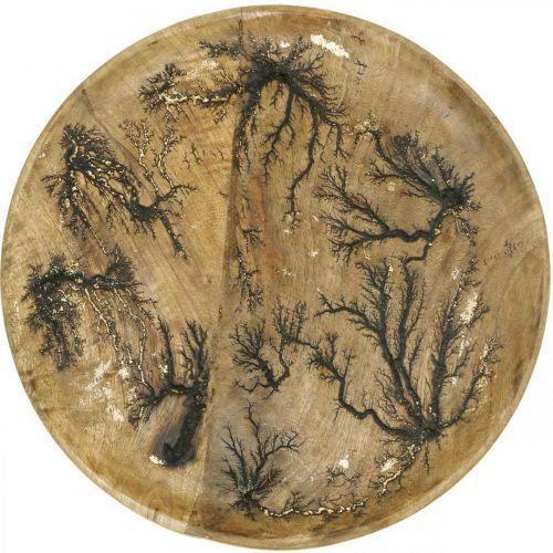 Dekorativ tallrik trä natur, guldknäppande mangoträ Ø30