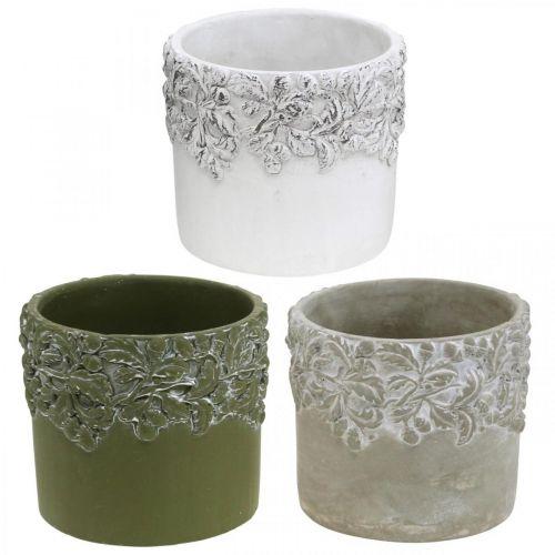 Keramikbehållare, blomkruka med ekdekor, växtkruka grön / vit / grå Ø13cm H11,5cm uppsättning med 3 st