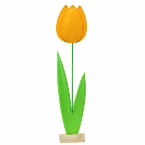 Filt blommatulpan gul sommardekoration H88cm