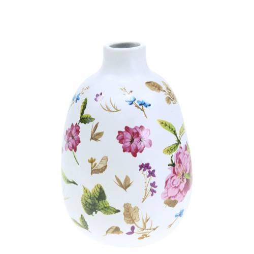 Dekorativ vas vit blommig Ø9cm H13.8cm