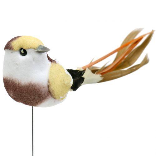 Fågel på tråden brun / orange 14 cm 12st