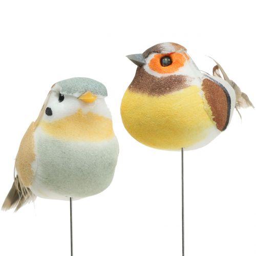 Mini fåglar på tråden vit / brun 5-7cm 16st