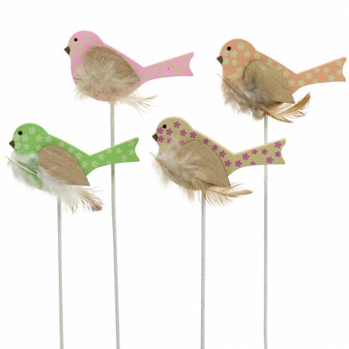 Dekorativ plugg fågel trägrön, rosa, gul, orange blandad 7cm x 4 cm H24cm 16st