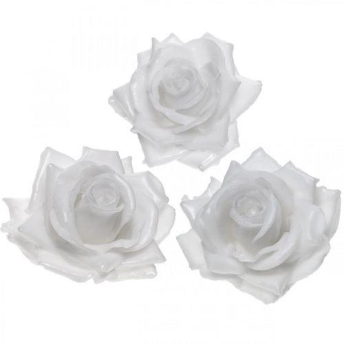 Vaxrosa vit Ø10cm Vaxad konstgjord blomma 6st