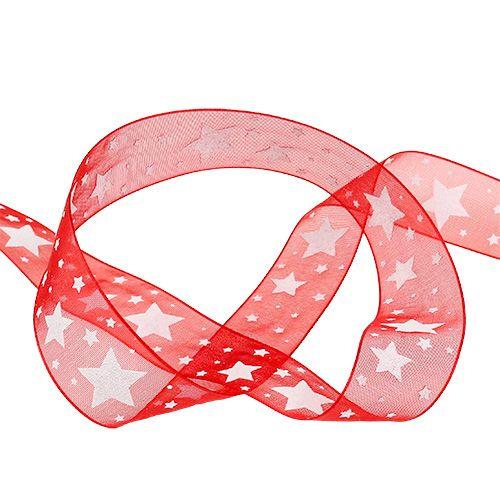Julband röd organza med stjärnor 25mm 20m