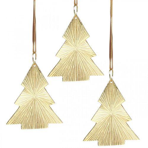 Julgran metallguld 8x10cm för att hänga 3st.