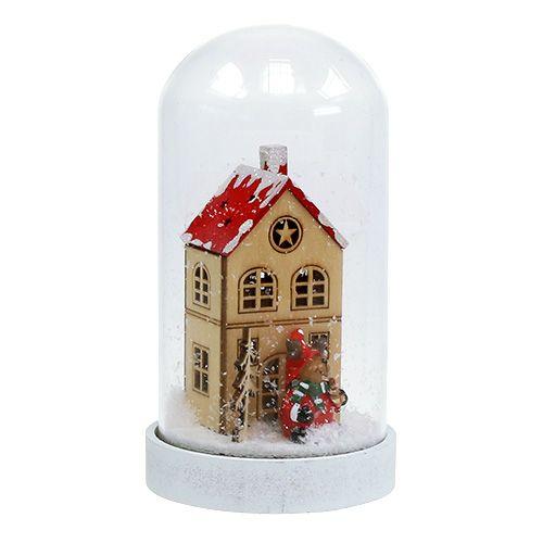 Juldekorationshus med glasklocka Ø9cm H16.5cm