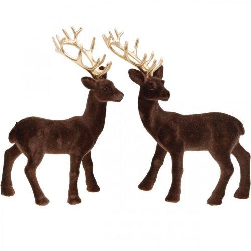 Juldekorationshjort för att placera brunt, guld 20cm 2st