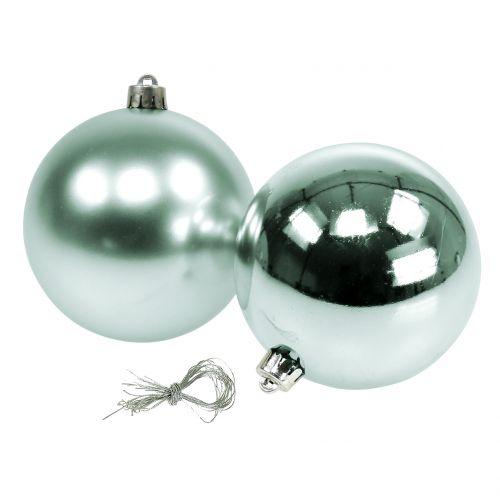 Julboll brytande ljusgrön blandad Ø10cm 4st