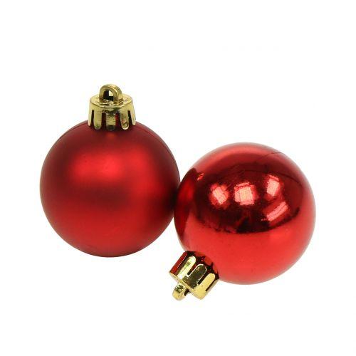 Julboll röd liten Ø4cm 16st