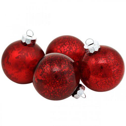 Trädboll, julgransdekorationer, glaskula röd marmorerad H4,5cm Ø4cm äkta glas 24st