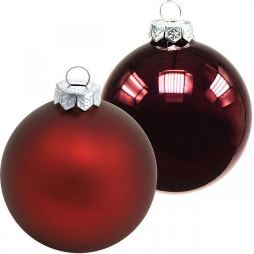 Julbollar, julgransdekorationer, glasbollar vinröda H8,5cm Ø7,5cm äkta glas 12st