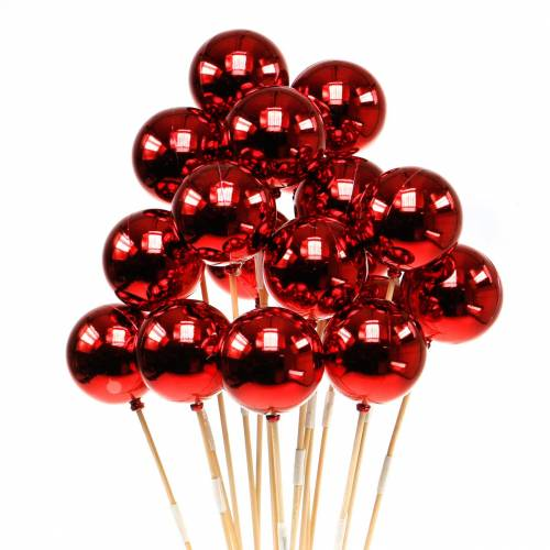 Julboll på pinne Ø6cm röd 18st
