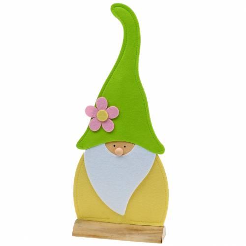 Gnome stående stående filt grön, gul, vit, rosa 33cm × 7cm H81cm för skyltfönster