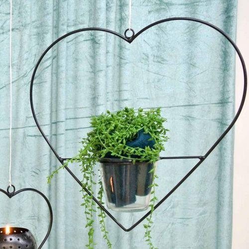 Vindljus hjärtmetall 28cm värmeljushållare för hängande glas 9cm