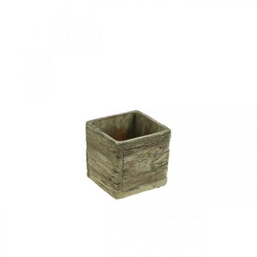 Plantkruka fyrkantig 9,5x9,5cm betongplanter av trä