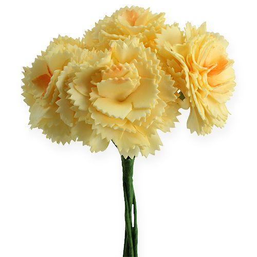 Konstgjord dekorativ nejlika gul 6st
