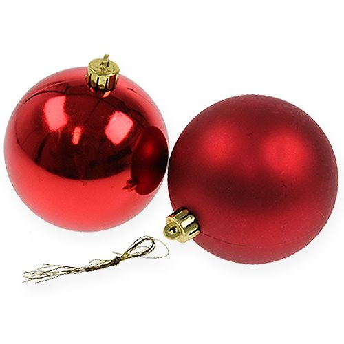 Julboll röd 10cm 4st
