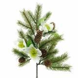 Konstgjord granfilial med julrosor och kottar L36cm