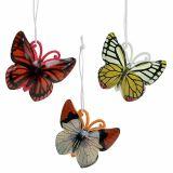 Fjäril för att hänga färgglada 5,5 cm 3st