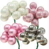 Mini julkula på tråd 40mm rosa, silver, vit 36st
